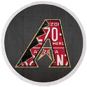 Arizona Diamondbacks Baseball Team Vintage Logo Recycled License Plate Art Round Beach Towel