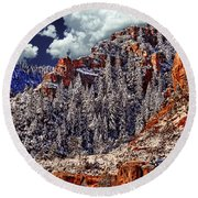 Arizona Secret Mountain Wilderness In Winter Round Beach Towel