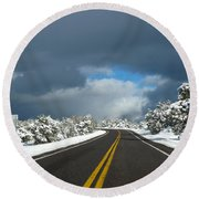 Arizona Snow 1 Round Beach Towel
