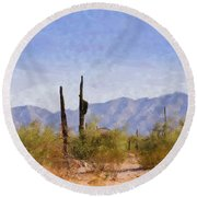 Arizona Sonoran Desert Round Beach Towel by Betty LaRue