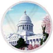 Arkansas Capitol Blossoms Round Beach Towel
