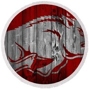 Arkansas Razorbacks Barn Door Round Beach Towel by Dan Sproul