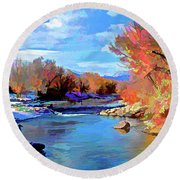 Arkansas River In Salida Co Round Beach Towel