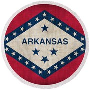 Arkansas State Flag Round Beach Towel