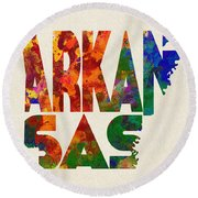 Arkansas Typographic Watercolor Map Round Beach Towel