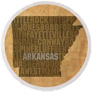 Arkansas Word Art State Map On Canvas Round Beach Towel