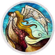 Arms Of The Angel Round Beach Towel