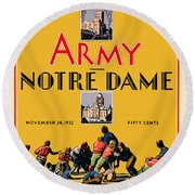 Army Vs Notre Dame 1932 Football Program Round Beach Towel