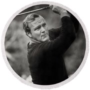 Arnold Palmer Pro-am Golf Photo Pebble Beach Monterey Calif. Circa 1960 Round Beach Towel by California Views Mr Pat Hathaway Archives