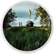 Arrival Of The Deceiver Round Beach Towel