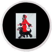 Round Beach Towel featuring the painting Art Deco  Girl With Red  Coat by Nora Shepley