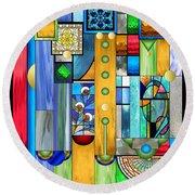 Art Deco Stained Glass 1 Round Beach Towel by Ellen Henneke