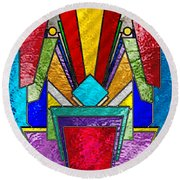 Art Deco - Stained Glass 6 Round Beach Towel