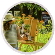 Art In The Garden Round Beach Towel by Mary Carol Story