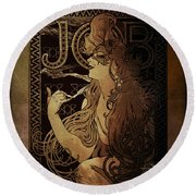 Art Nouveau Job - Masquerade Round Beach Towel by Absinthe Art By Michelle LeAnn Scott