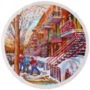 Art Of Montreal Staircases In Winter Street Hockey Game City Streetscenes By Carole Spandau Round Beach Towel