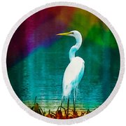 Art Of The Egret Round Beach Towel by Frank Bright