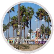 Art Of Venice Beach Round Beach Towel