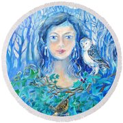 Round Beach Towel featuring the painting Artemis And The Wren- by Trudi Doyle