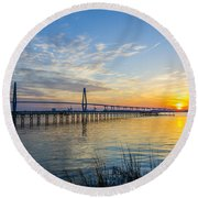 Calm Waters Over Charleston Sc Round Beach Towel by Dale Powell
