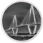 Arthur Ravenel Jr. Bridge In Black And White Round Beach Towel