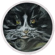 Round Beach Towel featuring the pastel Arthur  by Teresa White