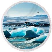 Artic Tern Over Jokulsarlon Glacier Lagoon Round Beach Towel
