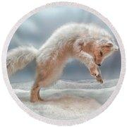 Artic White Wolf Round Beach Towel by Joan  Minchak