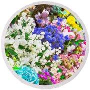Artificial Flowers Round Beach Towel