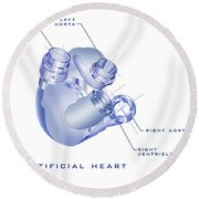 Artificial Heart Round Beach Towel