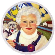 Artist At Work Portrait Of Mary Krupa Round Beach Towel