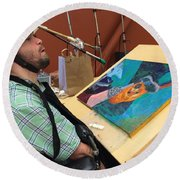 Round Beach Towel featuring the photograph Artist Working by Donald J Ryker III