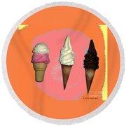 Artistic Ice Cream Round Beach Towel