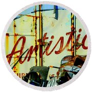Round Beach Towel featuring the photograph Artistic Junk by Kathy Barney