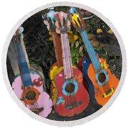 Arty Yard Guitars Round Beach Towel