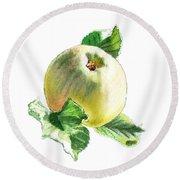 Round Beach Towel featuring the painting Artz Vitamins Series A Happy Green Apple by Irina Sztukowski