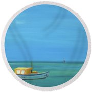 Round Beach Towel featuring the painting Aruba by Donna Tuten