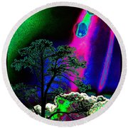 Round Beach Towel featuring the photograph As Evening Fell by Susanne Still