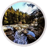 As Lawrence Welk Used To Say-ah Waterfall Waterfall Round Beach Towel by Robert McCubbin