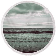 As My Heart Is Being Crushed Round Beach Towel by Laurie Search