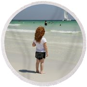 As The Sail Boat Rolls By Round Beach Towel by Charles Beeler
