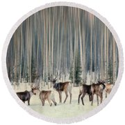 Caribou And Trees Round Beach Towel
