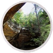 Ash Cave Of The Hocking Hills Round Beach Towel