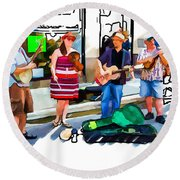 Asheville Buskers Round Beach Towel