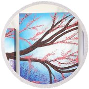 Asian Bloom Triptych Round Beach Towel