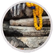 Asian Buddhism Round Beach Towel