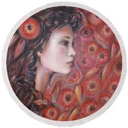 Round Beach Towel featuring the painting Asian Dream In Red Flowers 010809 by Selena Boron