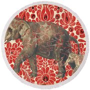 Asian Elephant-jp2185 Round Beach Towel
