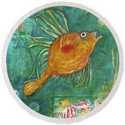 Asian Fish Round Beach Towel