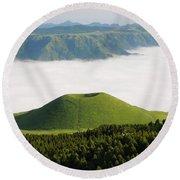 Round Beach Towel featuring the photograph Aso Komezuka Sea Of Clouds Cloud Kumamoto Japan by Paul Fearn